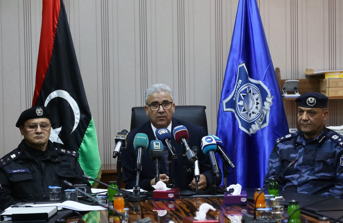 Interior Minister in Libya's Government of National Accord (GNA) Fathi Bashagha speaks during a press conference after his meeting with chiefs constable in Tripoli, Libya on 23 February 2020. [Hazem Turkia - Anadolu Agency]