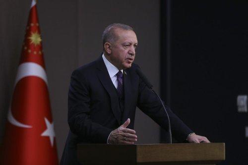 President of Turkey, Recep Tayyip Erdogan speaks to media ahead of his departure to Azerbaijan at Esenboga Airport in Ankara, Turkey on 25 February 2020. [Erçin Top - Anadolu Agency]a