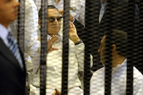 Former President of Egypt Hosni Mubarak is seen during his trial in Cairo, Egypt on 13 April 2013 [Mohammed Hossam/Anadolu Agency]