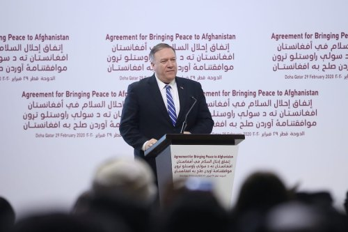 US Secretary of State Mike Pompeo makes a speech during signing ceremony of peace agreement between US, Taliban, in Doha, Qatar on 29 February 2020. [Fatih Aktaş - Anadolu Agency]