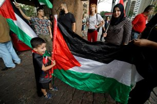 Arab and Palestinian community gather to protest against US President Donald Trump's so-called Middle East peace plan on 7 February 2020 in Sao Paulo, Brazil [Cris Faga/Anadolu Agency]