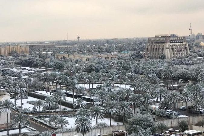 Extremely Rare Snowfall over Baghdad Captivates Residents