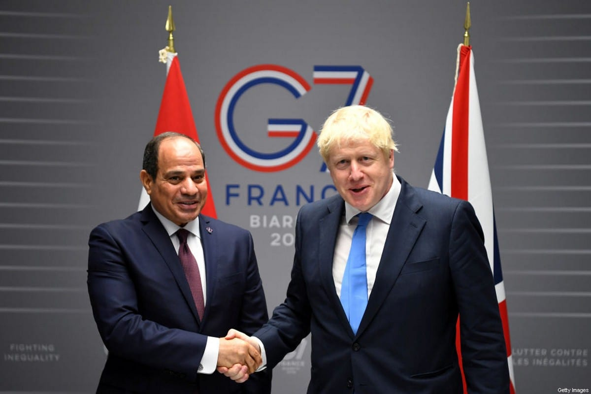 BIARRITZ, FRANCE - AUGUST 24: British Prime Minister Boris Johnson meets Egyptian President Abdel-Fattah el-Sisi for bilateral talks during the G7 summit on August 24, 2019 in Biarritz, France. The French southwestern seaside resort of Biarritz is hosting the 45th G7 summit from August 24 to 26. High on the agenda will be the climate emergency, the US-China trade war, Britain's departure from the EU, and emergency talks on the Amazon wildfire crisis. (Photo by Dylan Martinez - Pool/Getty Images)