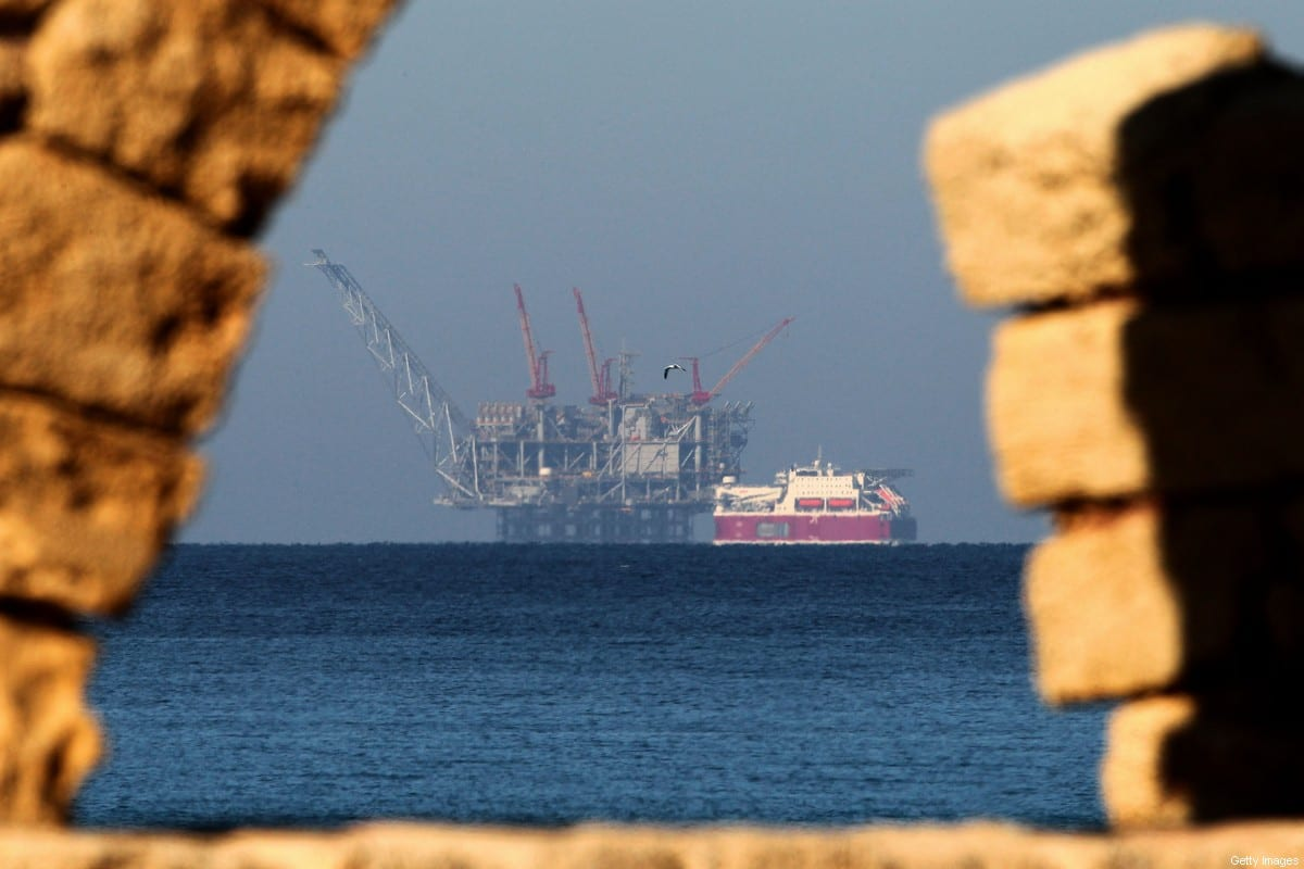 A view of the platform of the Leviathan natural gas field in the Mediterranean Sea is pictured from the Israeli northern coastal city of Caesarea on 19 December, 2019 [JACK GUEZ/AFP via Getty Images]