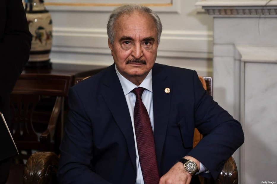 Libyan strongman Khalifa Haftar sits during talks with Greek Foreign Minister in Athens, on January 17, 2020 [ARIS MESSINIS/AFP via Getty Images]