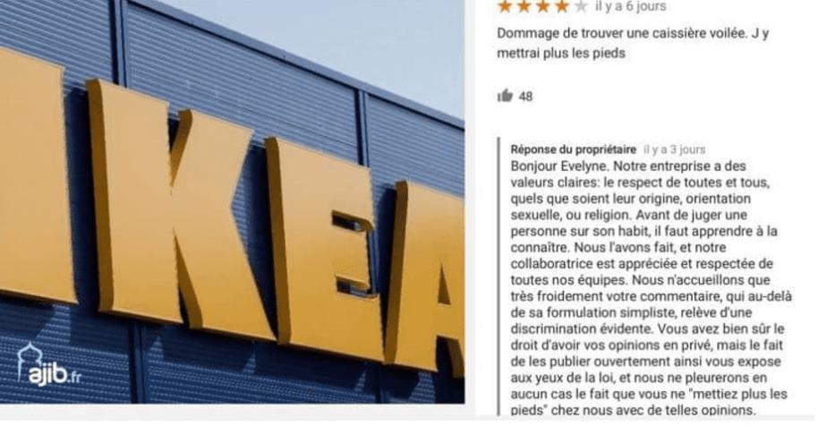 IKEA's response to a customer criticising a veiled cashier