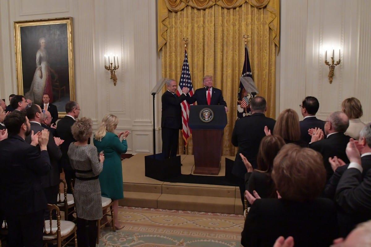 US President Donald Trump Prime Minister of Israel, Benjamin Netanyahu on 28 January 2020 in Washington, DC [Kobi Gideon/Anadolu Agency]