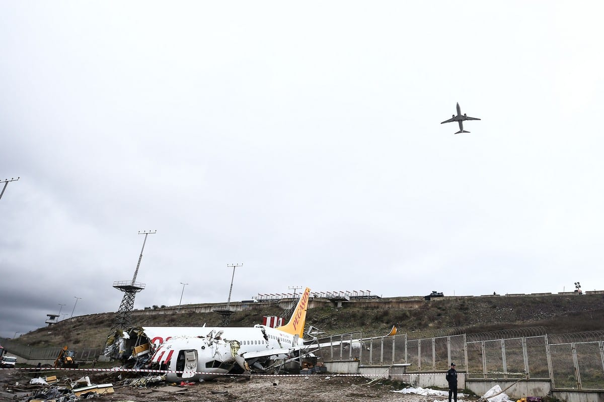 The wreckage of a Pegasus Airline plane after it skidded off the runway upon landing in Istanbul Sabiha Gokcen International Airport, on 6 February 2020 in Istanbul, Turkey [Onur Çoban/Anadolu Agency]