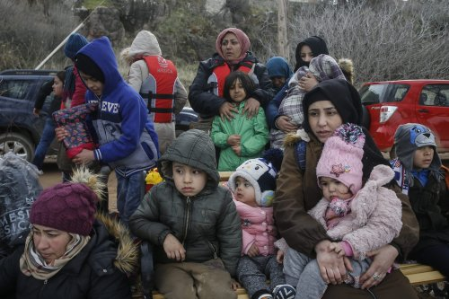 Irregular migrants escaped from civil war in Syria, who want to proceed to Europe in Lesbos Island on Greece on 28 February, 2020 [Ayhan Mehmet/Anadolu Agency]