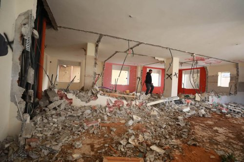 An interior view of a damaged building, belonging to a Palestinian prisoner in Israeli jail Valid Hanatshe demolished by Israeli forces, is seen in At-Tira neighborhood of Ramallah, West Bank on 5 March 2020. [İssam Rimawi - Anadolu Agency]