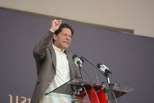 Pakistani Prime Minister Imran Khan addresses people during opening ceremony of U21 Games 2020 at Qayyum Sports Complex, in Peshawar, Pakistan on March 9, 2020. [Hussain Ali - Anadolu Agency]