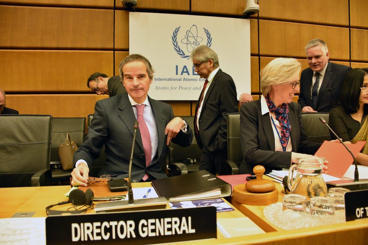 Director General of the International Atomic Energy Agency (IAEA), Rafael Mariano Gross (L) attends the IAEA board's meeting in Vienna, Austria, on March 09, 2020 [Aşkın Kıyağan - Anadolu Agency]