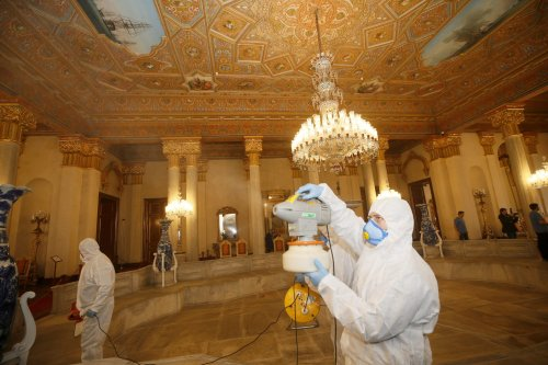 Disinfection works are being carried out by specialists, wearing protective suits, at Beylerbeyi Palace as part of precautions against the coronavirus (COVID-19), on 16 March, 2020 in Istanbul, Turkey [Erhan Elaldı/Anadolu Agency]