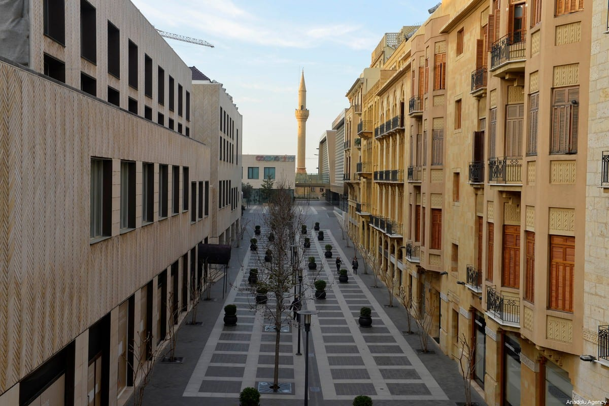 A street is seen empty in Beirut, Lebanon on March 16, 2020, after Lebanese Prime Minister Hassan Diab declared a state of emergency due to the novel coronavirus (Covid-19) outbreak [Hussam Chbaro / Anadolu Agency]