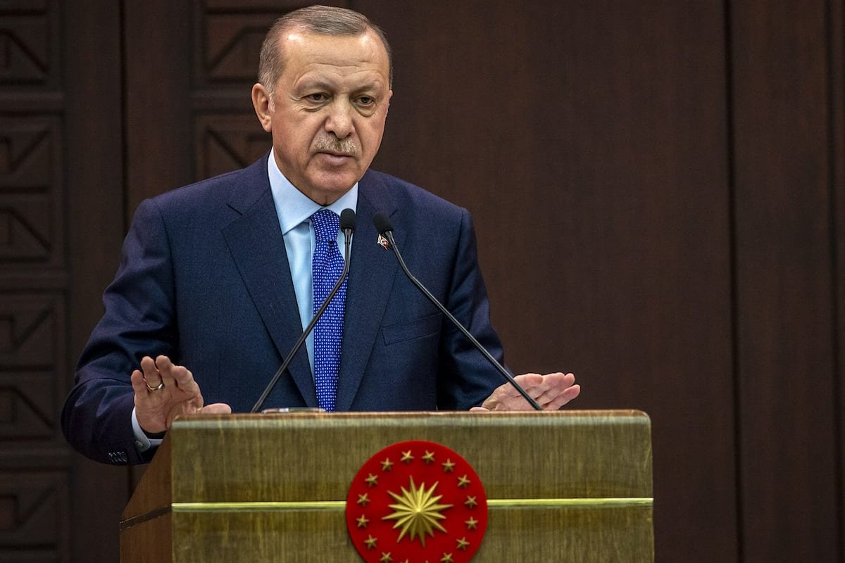 President of Turkey, Recep Tayyip Erdogan speaks during a press conference held after the coordination meeting of fight against coronavirus (COVID-19) process at the Cankaya Palace in Ankara, Turkey on 18 March 2020. [Ali Balıkçı - Anadolu Agency]