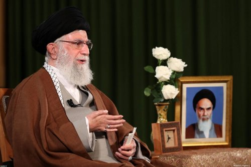 Iranian Supreme Leader Ali Khamenei makes statements regarding coronavirus (COVID-19) on 22 March, 2020 in Tehran, Iran [Iranian Supreme Leader Press Office/Handout/Anadolu Agency]