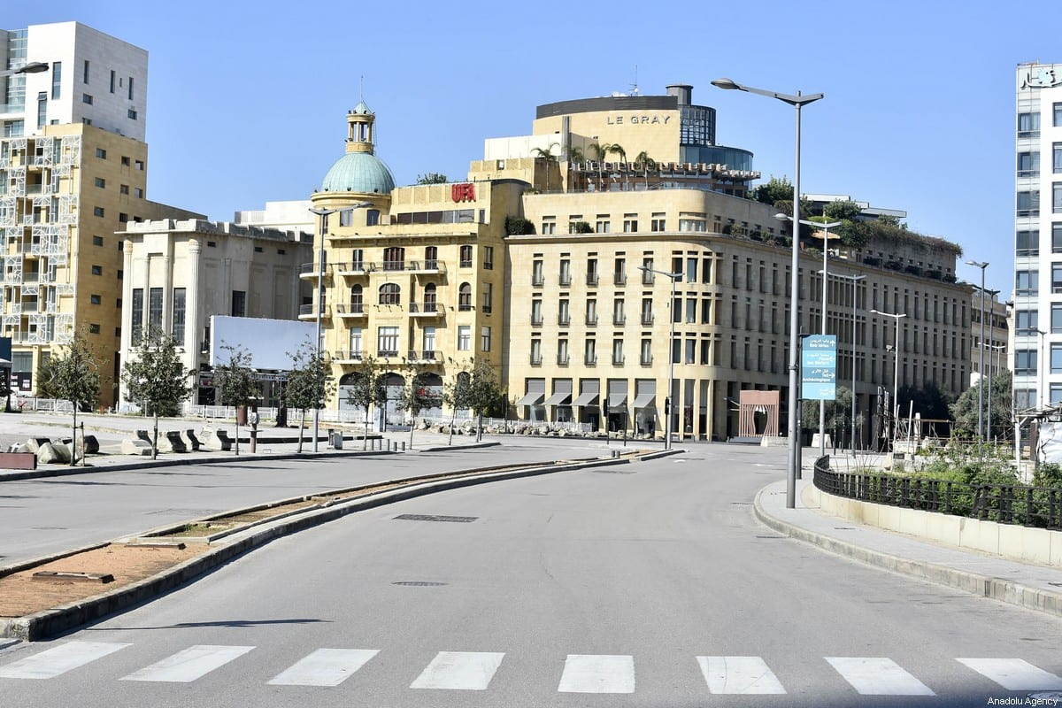 A main street is seen empty after a state of emergency was declared on Monday due to the coronavirus (COVID-19) outbreak in Beirut, Lebanon on 22 March 2020. [Hussam Chbaro - Anadolu Agency]
