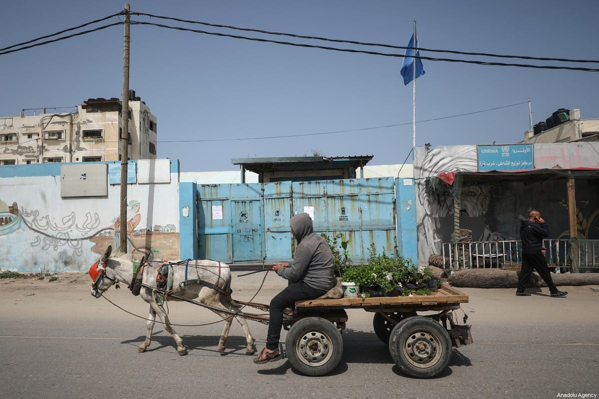 An outside view of UNRWA's distribution center in Al-Shati refugee camp after it was closed on 23 March 2020 in Gaza City, Gaza. [Ali Jadallah - Anadolu Agency]