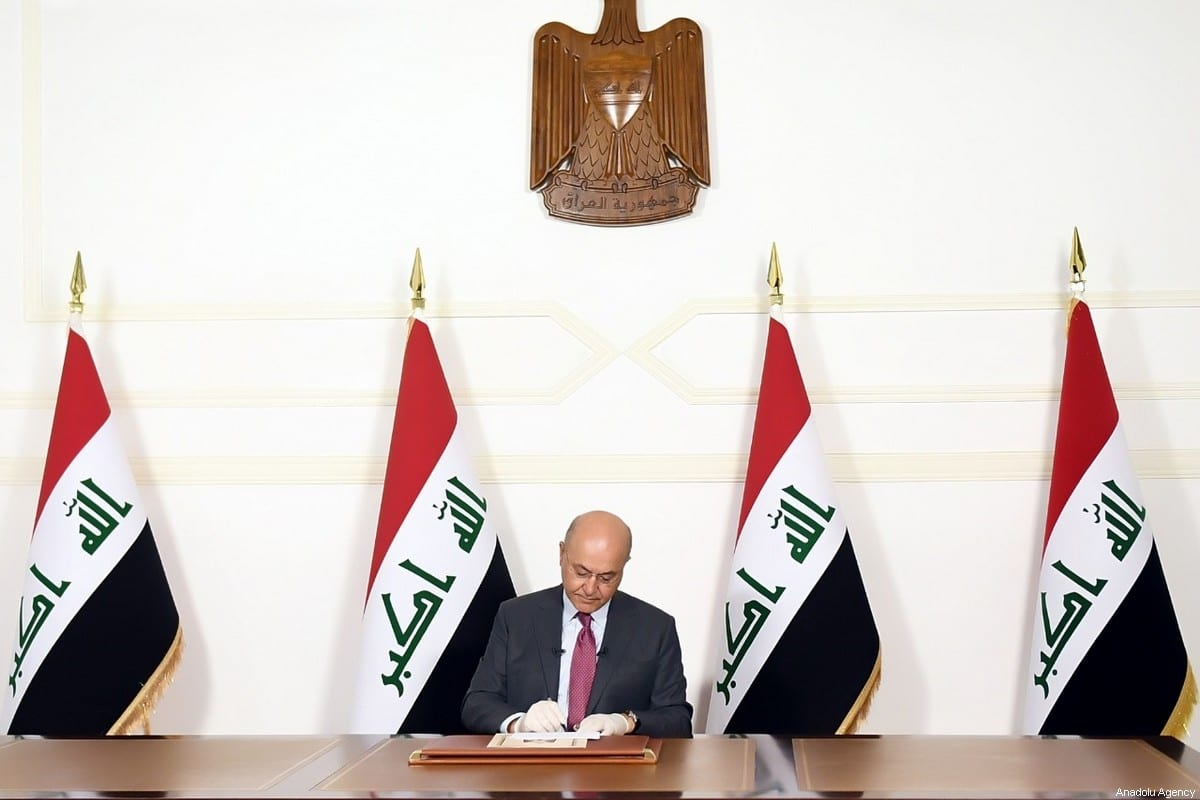 Iraqi President Barham Salih in Baghdad, Iraq on 23 March 2020 [Iraqi Presidency/Anadolu Agency]