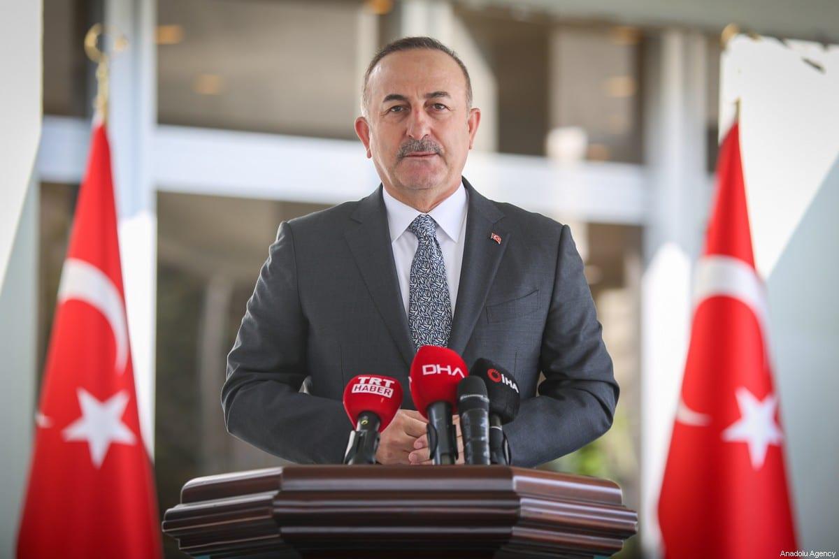 Turkish Foreign Minister Mevlut Cavusoglu speaks to press members in Ankara, Turkey on 25 March 2020 [Cem Özdel/Anadolu Agency]