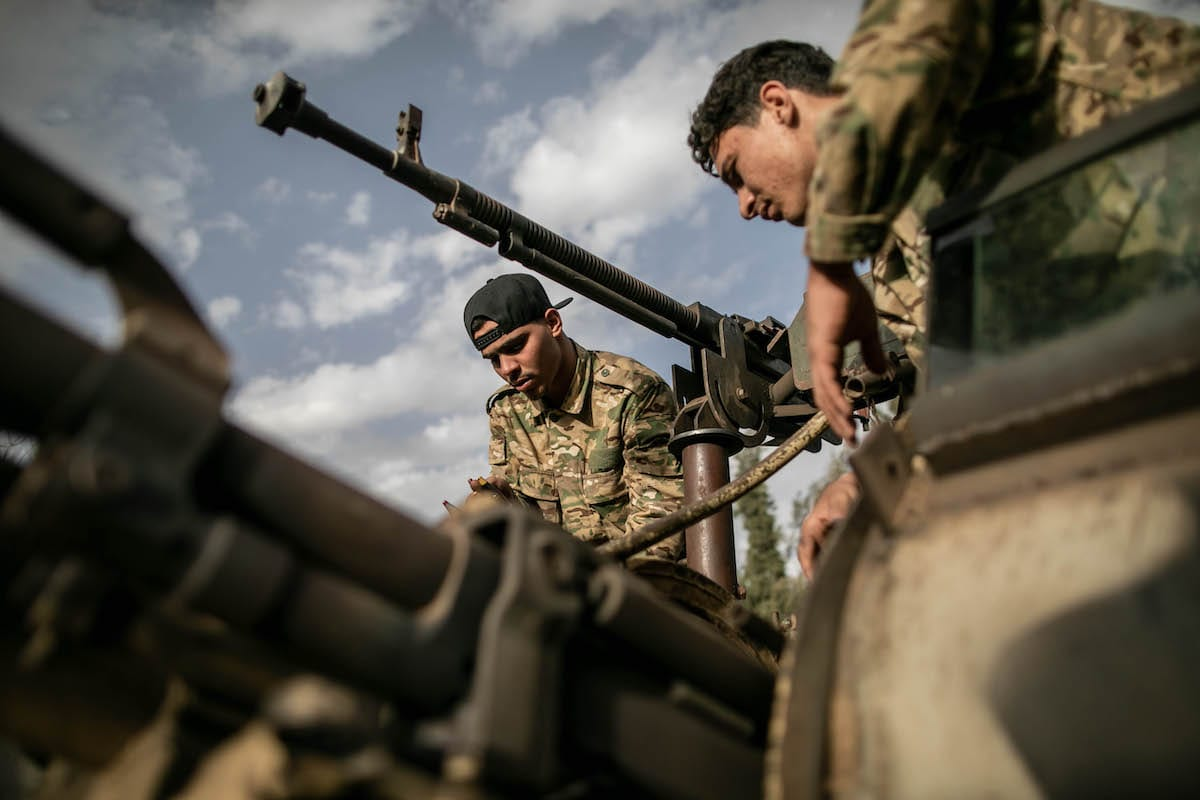 """Libyan Army forces attend """"Operation Peace Storm"""" of the Libya's Government of National Accord (GNA) in Tripoli, Libya on 27 March 2020 [Amru Salahuddien/Anadolu Agency]"""