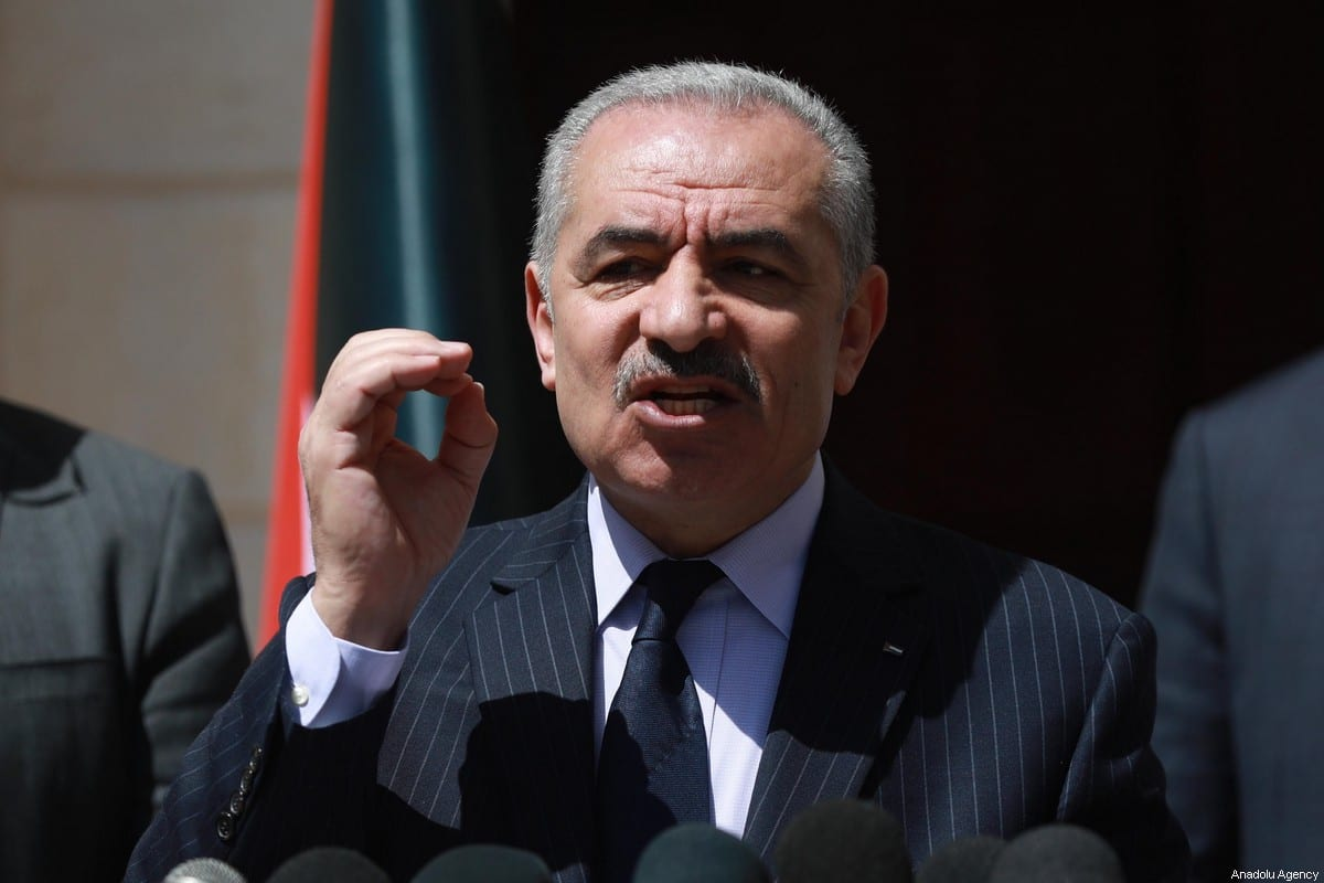 Palestinian Prime Minister Mohammad Shtayyeh on March 29, 2020 in Ramallah, West Bank. [Issam Rimawi - Anadolu Agency]