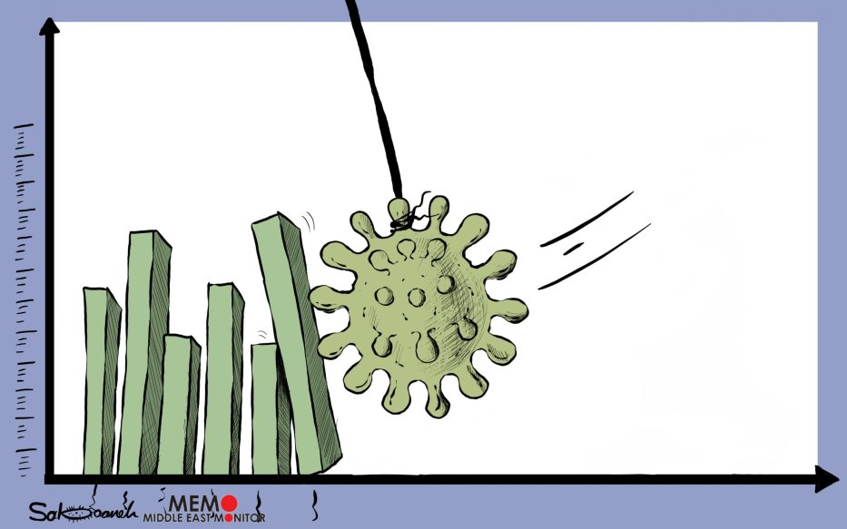 Coronavirus is affecting the world's economy - Cartoon [Sabaaneh/MiddleEastMonitor]