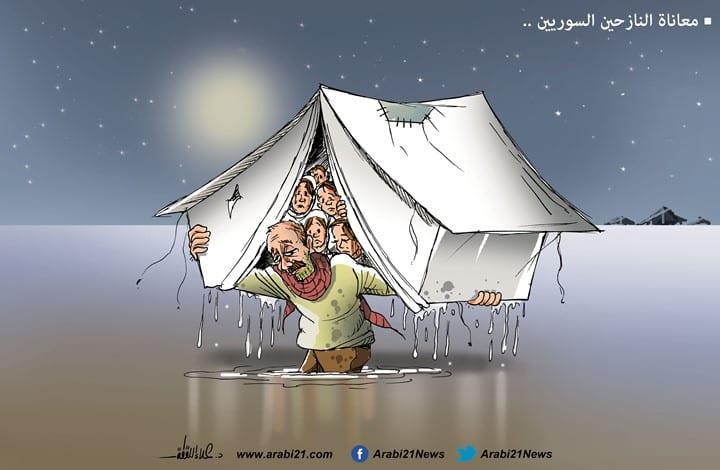 Syrian refugees [Cartoon/Arabi21]