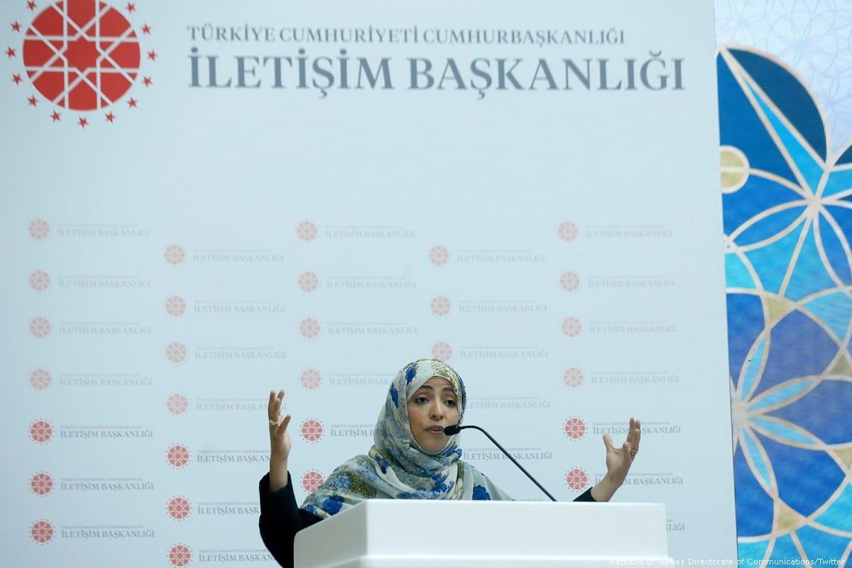 Yemeni Nobel Peace laureate Tawakkol Karman in Istanbul, Turkey on 9 March 2020 [Republic of Turkey Directorate of Communications/Twitter]