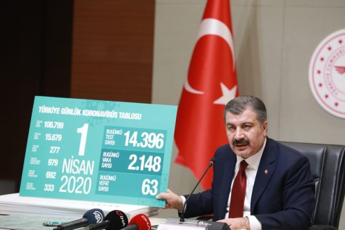 Turkish Health Minister Fahrettin Koca speaks during a press conference after the Science Council Meeting on coronavirus (Covid-19) in Ankara, Turkey on 1 April 2020. [Aytuğ Can Sencar - Anadolu Agency]