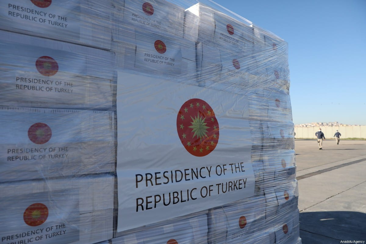 Turkey's medical aid packages are being prepared for a military cargo plane, that will deliver them to United Kingdom to support the fight against coronavirus (COVID-19) pandemic in Etimesgut Air Base in Ankara, Turkey on 10 April 2020. [Hakan Nural - Anadolu Agency]