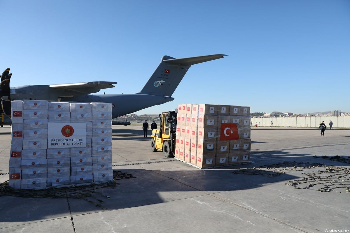 Turkey's medical aid packages are being prepared for a military cargo plane, that will deliver them to United Kingdom to support the fight against coronavirus (COVID-19) pandemic in Etimesgut Air Base in Ankara, Turkey on April 10, 2020 [Hakan Nural / Anadolu Agency]