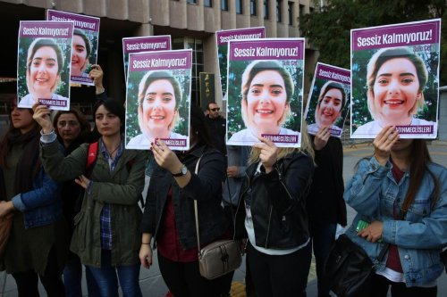 Women protest femicide before the trial regarding the death of Sule Cet, who was allegedly killed by being thrown off the 20th floor of a luxury building in Ankara, on 8 November, 2018 [DEM ALTAN/AFP via Getty Images]