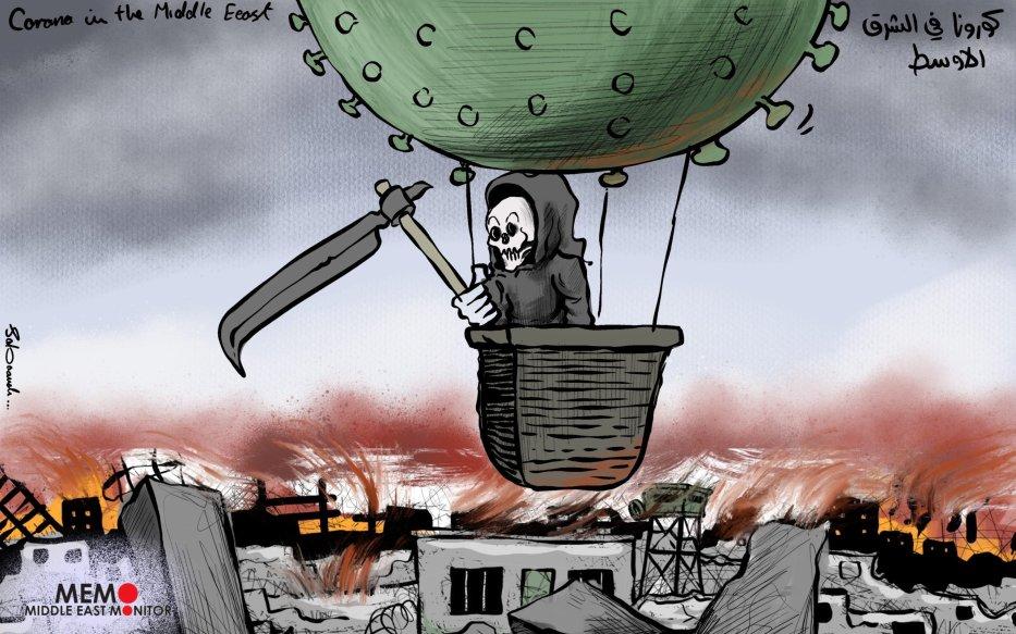 Coronavirus spreading in the Middle East - Cartoon [Sabaaneh/MiddleEastMonitor]