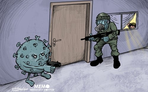 Security and politics determine the degree of coronavirus cooperation - Cartoon [Sabaaneh/MiddleEastMonitor]