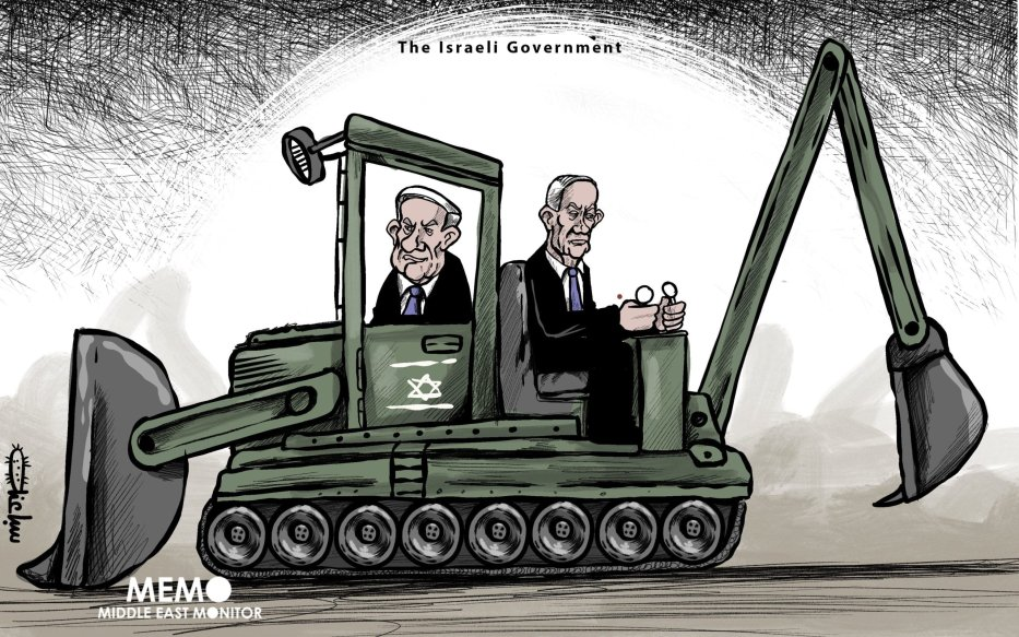 The Israeli government: Netanyahu-Gantz coalition - Cartoon [Sabaaneh/MiddleEastMonitor]