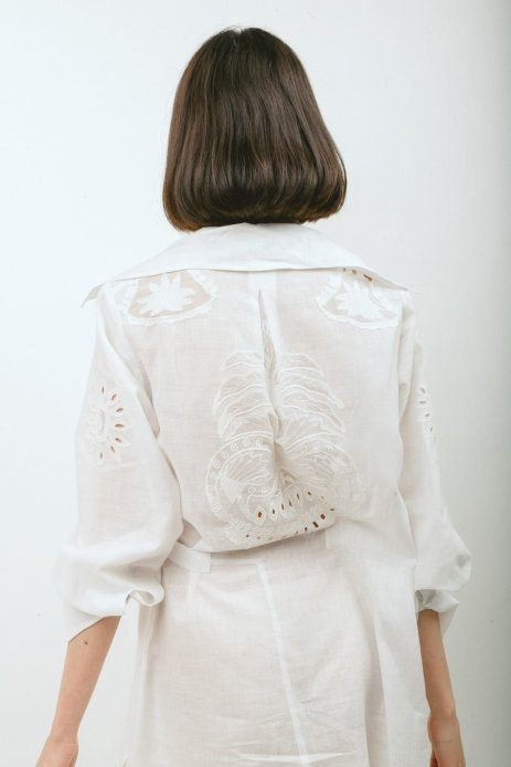 Font and Back of a shirt made for a private client. Cut from organic cotton Khadi from Lucknow with appliqué details from a hand embroidered antique tablecloth donated by an estate in Switzerland. Photo: Ray Chehab