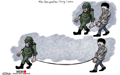 Israeli forces continue to arrest Palestinians despite coronavirus lockdown - Cartoon [Sabaaneh/MiddleEastMonitor]