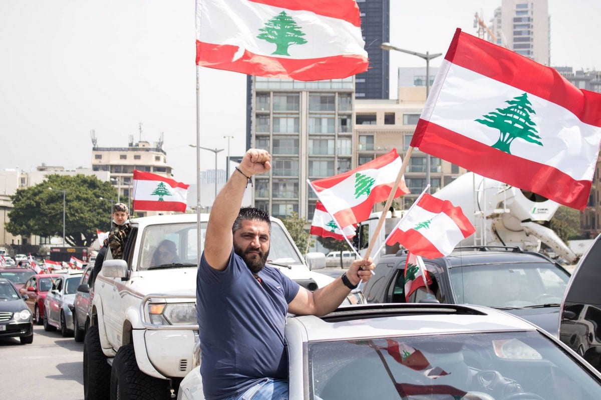 Lebanese protesters rally over the worsening economic crisis in Beirut, Lebanon on 21 April 2020 [nicfrakesjourno/Twiter]