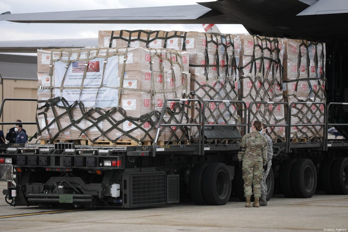 Turkey's medical aid packages are being unloaded from military cargo plane, carrying the second batch of medical supplies, following its arrival at Joint Base Andrews outside Washington, D.C., United States on May 01, 2020 delivering aid to its NATO ally battling the coronavirus (COVID-19) outbreak [Yasin Öztürk - Anadolu Agency]