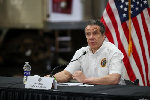 New York Governor Andrew M. Cuomo visits the maintenance facility of the Metropolitan Transportation Authority (MTA) and speaks about Covid-19 pandemic in Queens, New York City, United States on May 2, 2020 [Tayfun Coşkun - Anadolu Agency]