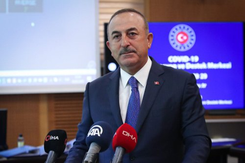 Turkish Foreign Minister Mevlut Cavusoglu speaks to the press at Covid-19 Coordination and Support Center in Ankara, Turkey on May 5, 2020 [Cem Özdel - Anadolu Agency]