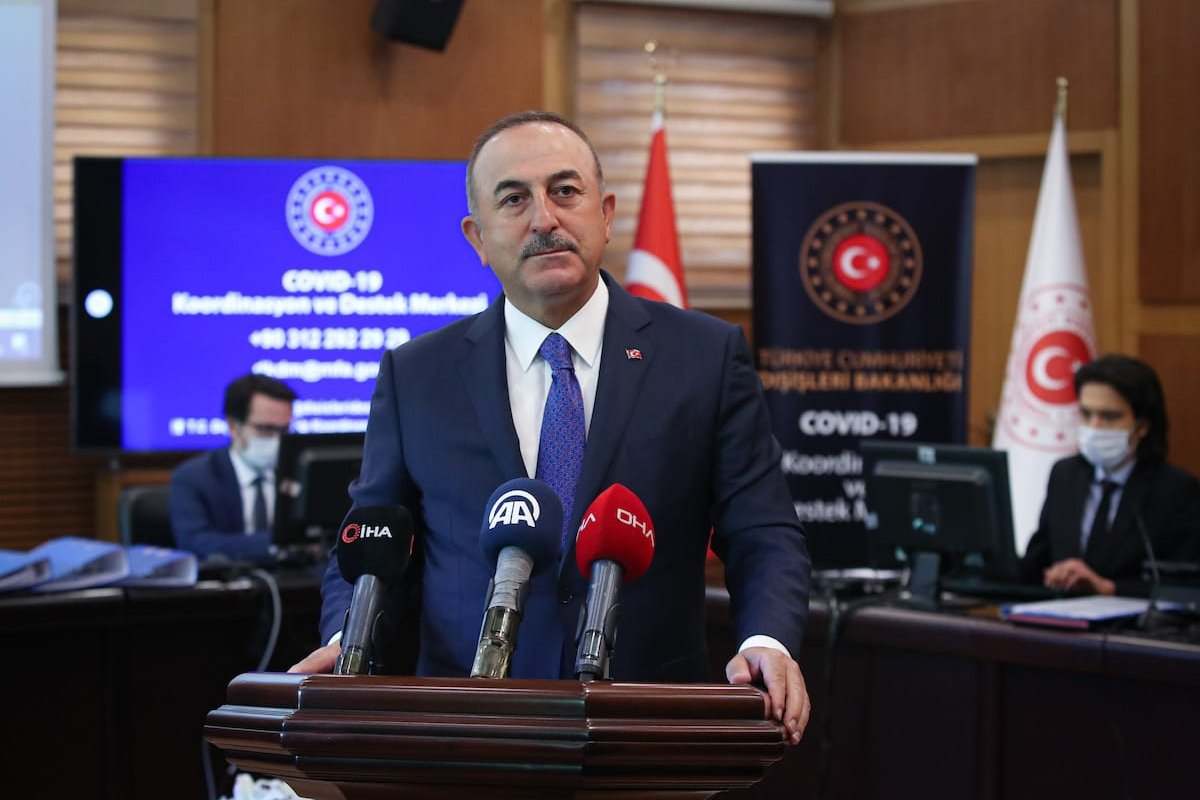 Turkish Foreign Minister Mevlut Cavusoglu speaks to the press at Covid-19 Coordination and Support Center in Ankara, Turkey on 5 May, 2020 [Cem Özdel/Anadolu Agency]