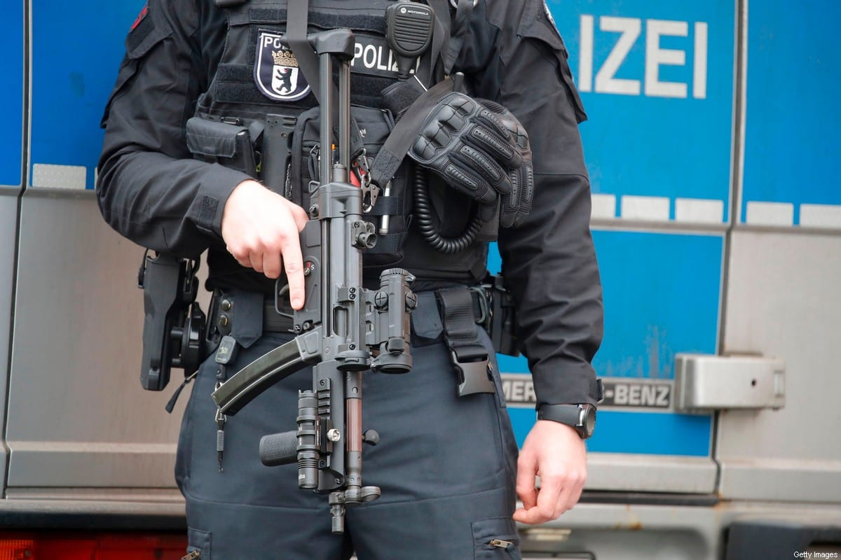 A police officer in Berlin, Germany on 30 April 2020 [ODD ANDERSEN/AFP/Getty Images]