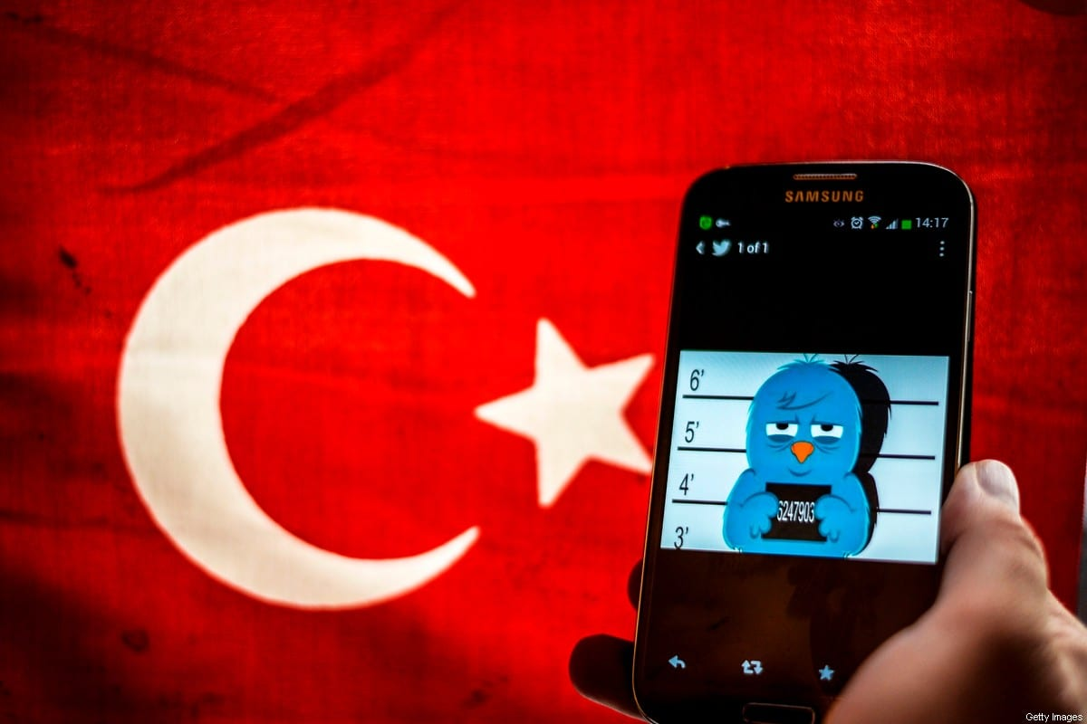 A picture representing a mugshot of the twitter bird is seen on a smart phone with a Turkish flag on March 26, 2014 in Istanbul [OZAN KOSE/AFP via Getty Images]
