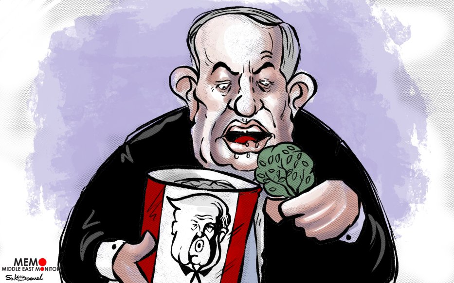 """I will not miss the opportunity to annex the West Bank""- Cartoon [Sabaaneh/MiddleEastMonitor]"