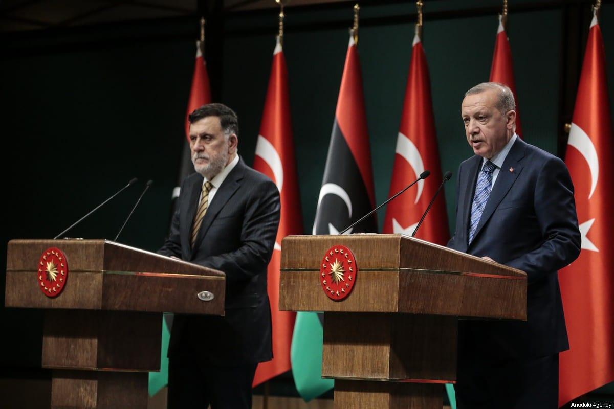 Turkish President Recep Tayyip Erdogan (R) and Libyan Prime Minister Fayez al-Sarraj (L) hold a joint press conference at Presidential Complex in Ankara, Turkey on June 4, 2020. [Metin Aktaş - Anadolu Agency]