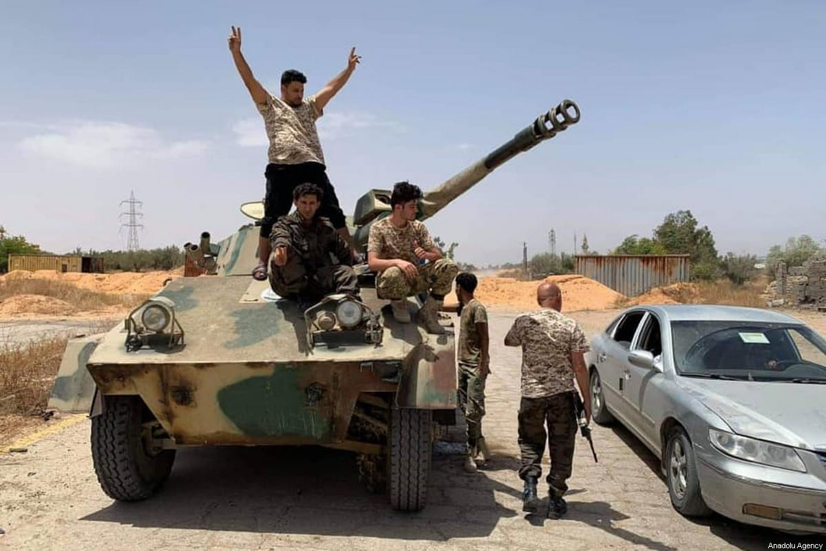 Libyan Army captures a tank from warlord Khalifa Haftar's militias in Tripoli, Libya on 4 June 2020 [Volcano of Rage Operation/Anadolu Agency]