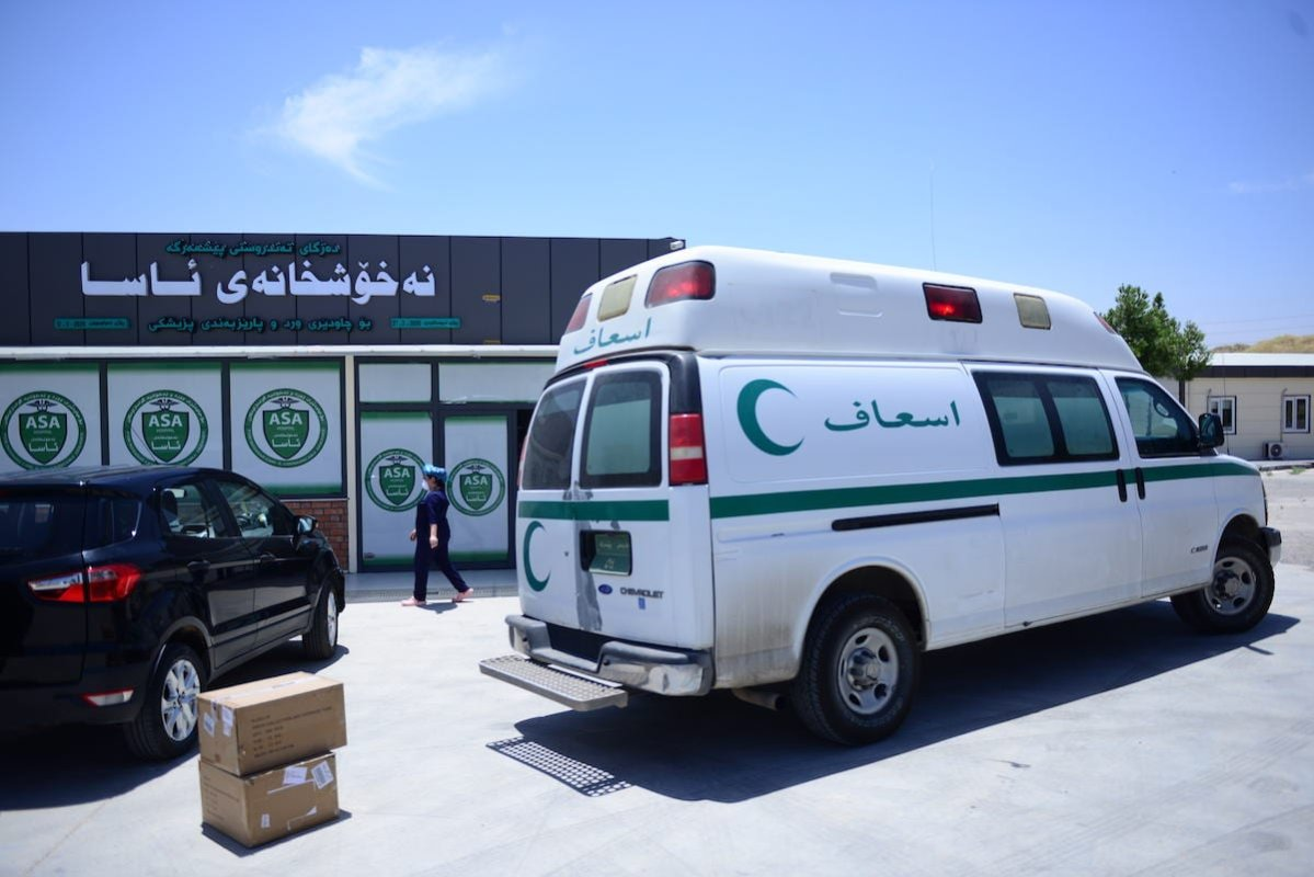 Health workers keep on duty under harsh conditions without salaries during the novel coronavirus (COVID-19) pandemic, demand to be paid for their salaries at a pandemic hospital in Sulaymaniyah, Iraq on 1 June 2020. [Fariq Faraj Mahmood - Anadolu Agency]