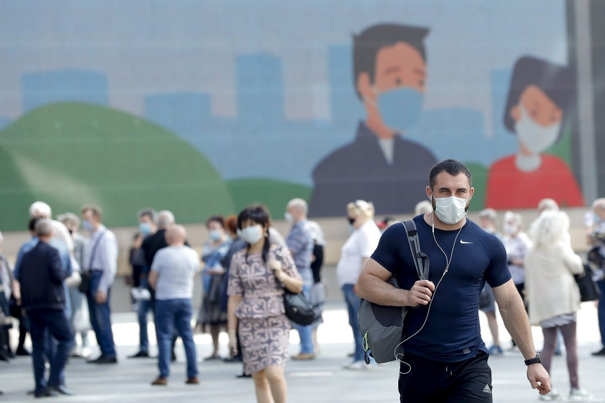 People wearing masks as a precaution against coronavirus (Covid-19) in Moscow, Russia on 9 June 2020 [Sefa Karacan/Anadolu Agency]